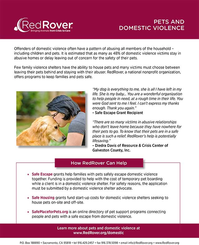 Red Rover Pets and Domestic Violence Programs